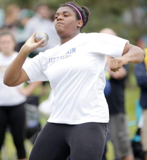 Jefferson High School freshman Stephanie Nwankwo prepares to make one of her state-championship shot-put throws of just over 40 feet during Saturday's State Group 2 Championships at Northern Burlington County Regional High School.