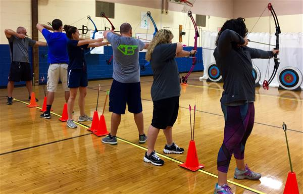 JTMS Phys Ed teachers being trained in archery. How exciting!
