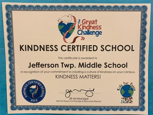 JTMS Awarded Kindness Matters Certificate